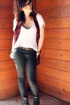 plaid StyleMint vest - asos t-shirt - Target belt