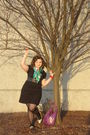 Black-dress-green-ed-hardy-scarf-black-tights-purple-purse-gold-shoes