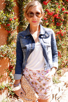 blue denim jacket Gap jacket - nude clutch Elie Tahari purse