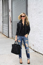 Navy-jeans-jeans-black-leather-jacket-doma-jacket-black-tote-celine-bag