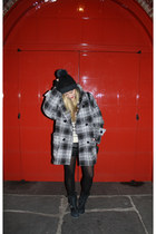 black motorcycle Zara boots - black oversized plaid coat