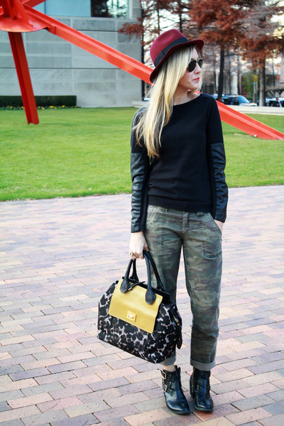 black booties cut out Report boots - black fedora oxblood Forever 21 hat