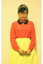 neon DIY skirt - polka dotted vintage shirt - Forever 21 necklace