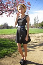 silver cleaver necklace - black asos dress - gold woven Urban Outfitters hat