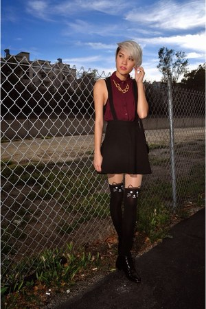 black leather boots - black kitty tights - black suspender H&M skirt