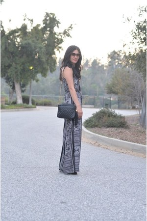 black Lush jumper - black vintage Chanel bag - black JustFab heels