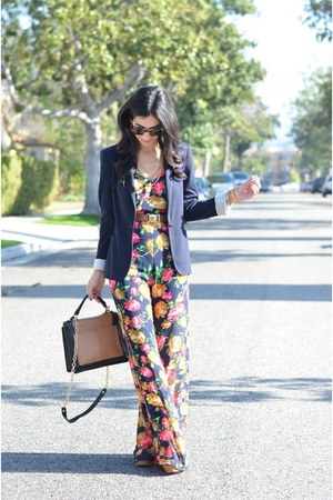 hot pink floral Lush jumper - navy Zara blazer - brown Sole Society bag