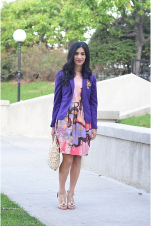 purple YSL heels - pink asos dress - puce JCrew blazer - gold YSL accessories