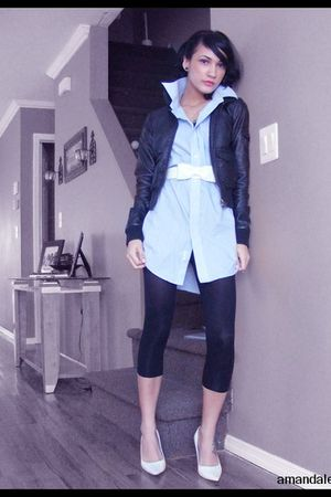 black H&M jacket - black leggings - blue  shirt