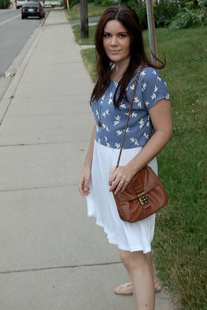 white H&M dress - bronze Forever 21 bag - sky blue cropped H&M top - tan metalli
