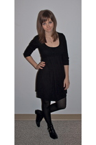 black Kimichi Blue dress - black American Apparel tights - black all black shoes