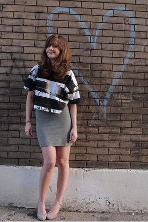 black Topshop top - gray BDG skirt - gray Aldo shoes