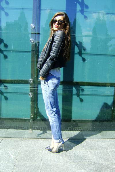 leather Mango jacket - Levis jeans - Zara shirt - H&M sunglasses