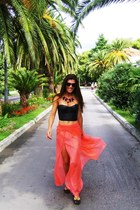 salmon maxi DIY skirt - salmon DIY necklace - black leather New Yorker top