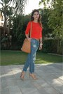 Blue-mango-jeans-orange-asos-bag-brown-ray-ban-sunglasses-neutral-heels