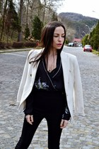 ivory Mango blazer - Zara boots - Zara shirt - Ray Ban sunglasses - Zara pants