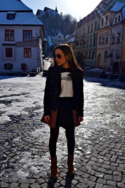 camel leather Zara boots - black leather Zara jacket