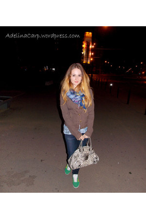 blue scarf - brown coat - silver Guess bag - green Adidas sneakers