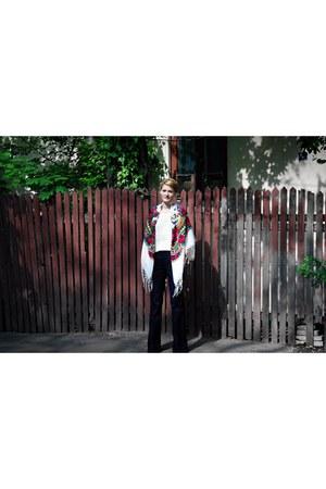 etam jeans - unknown scarf - vintage blouse