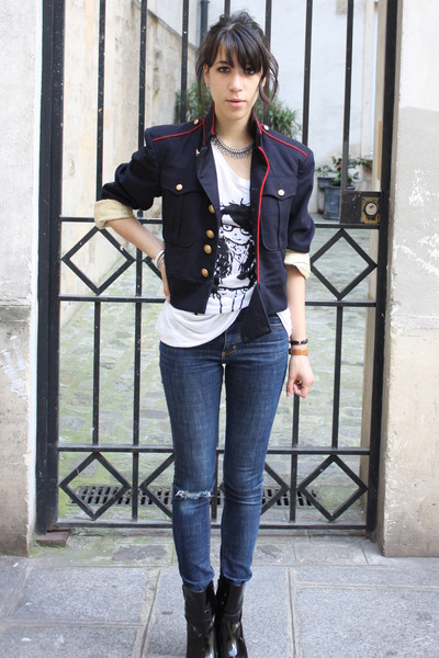 white Zara shirt - black mellow yellow boots - blue Cheap Monday jeans