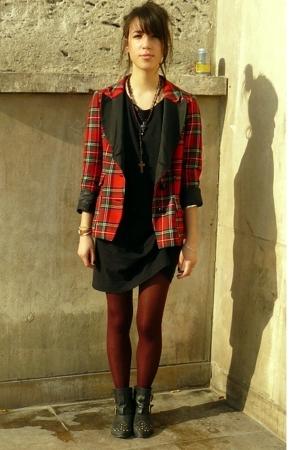 Maje blazer - Uniqlo dress - Topshop boots