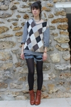 united colors of benetton sweater -  shorts - tights - Kookai shoes