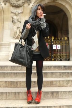 caroll jacket - united colors of benetton sweater - American Apparel dress -  ti