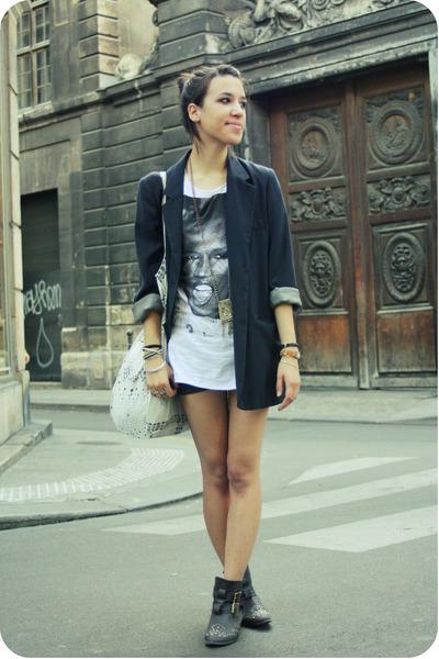 Cacharel blazer - Zara shirt - Mango shorts - Topshop boots - SANDRO purse