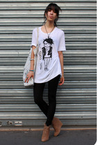 Zara shoes - American Apparel leggings - Zara t-shirt - SANDRO purse