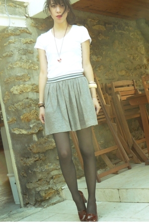 SANDRO skirt - H&M shirt - Self Made necklace - Kookai shoes