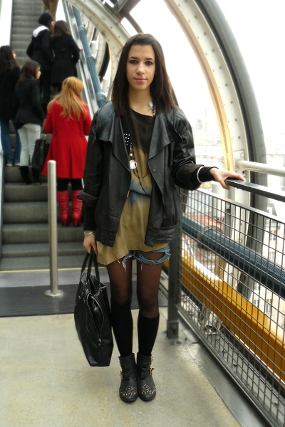 SANDRO dress - grandpas blazer - shorts - Topshop boots - H&M socks
