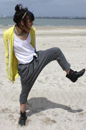 yellow American Apparel blazer - black Topshop boots - white Zara shirt
