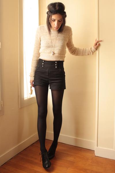 silver les jumelles necklace - black Topshop shoes - beige H&M sweater