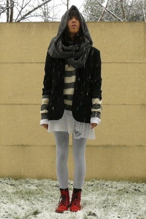 caroll jacket - united colors of benetton sweater - H&M shirt - Petit Bateau dre