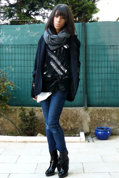 Topshop sweater - caroll jacket - American Apparel scarf - Cheap Monday jeans -