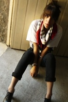Burberry scarf - Zara shirt - Cheap Monday pants - ANDRE shoes