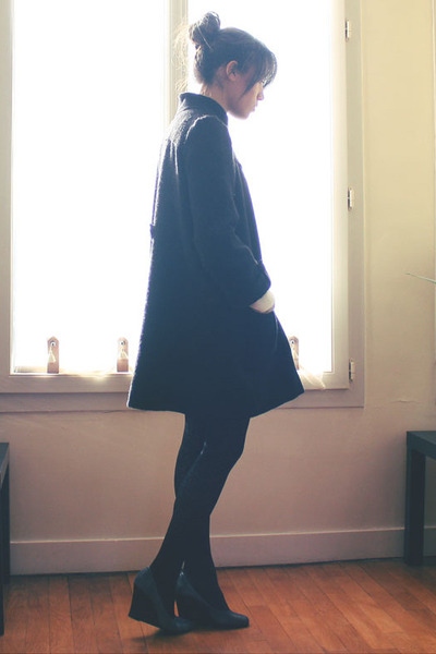 black Maje coat - black H&amp;M tights - gray Jonak shoes