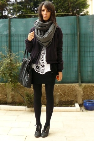 white diy shredded H&M shirt - black Quai de Scene shoes