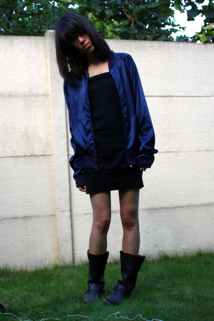 American Apparel blazer - American Apparel dress - thrifted boots - Kipling purs