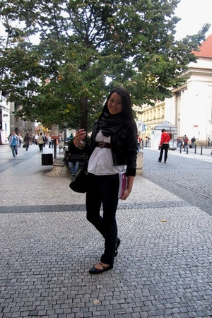 Zara jeans - scarf - jacket - H&M belt - Zara shirt - purse