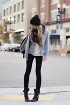 light blue jacket - ivory shirt - black pants