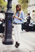black belt - sky blue shirt - cream pants - black heels