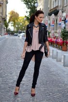 light pink shirt - black jacket - black pants