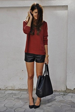 ruby red sweater - black leather H&M shorts
