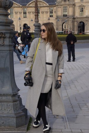 black H&M shoes - black Bruuns Bazaar dress - heather gray COS coat