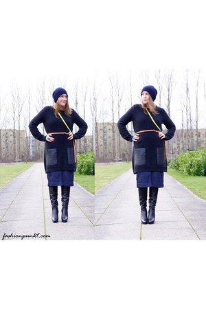 Gant skirt - black calvin klein boots - yellow cross-body H&M Trend bag