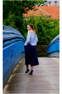 sky blue H&M Trend top - blue Howsty pumps - navy culottes River Island pants