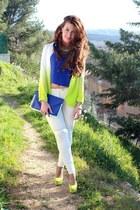 chartreuse asos blazer - chartreuse Ebay shoes - blue asos bag