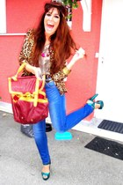 blue Zara jeans - gold new look jacket - ruby red asos bag