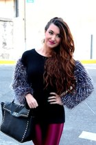 black faux fur Nasty Gal jumper - gold Boohoo boots - black Forever 21 bag